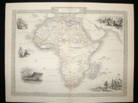 Africa: 1852 Antique Map. Decorative. Tallis Rapkin